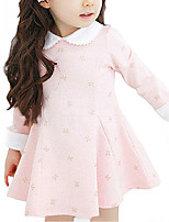 cheap -Girl's Daily School Floral Dress, Cotton Fall Winter Long Sleeves Simple Cute Blushing Pink