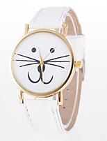 abordables -Mujer Cuarzo Reloj de Moda Chino Reloj Casual Piel Banda Dibujos Gato Blanco