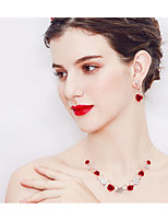 cheap -Women's Rhinestone Floral Jewelry Set 1 Necklace Earrings - Floral Fashion European Flower Red Jewelry Set For Wedding Daily