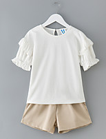 cheap -Girls' Daily Solid Clothing Set, Polyester Spring Short Sleeves Simple White Blushing Pink Khaki