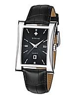 Недорогие -Муж. Кварцевый Модные часы Японский Календарь Защита от влаги Натуральная кожа Группа На каждый день Черный Коричневый