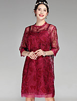 cheap -Women's Sophisticated Loose Dress - Floral, Embroidered Crew Neck