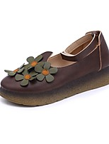 cheap -Women's Shoes Rubber Spring Fall Comfort Flats Flat Heel Round Toe for Outdoor Coffee Green