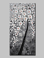 cheap -Hand-Painted Abstract Floral/Botanical Vertical, Modern Canvas Oil Painting Home Decoration One Panel