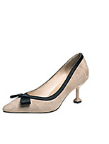 cheap -Women's Shoes PU Spring Fall Comfort Heels Stiletto Heel for Outdoor Black Beige Pink