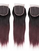 Недорогие -ALIMICE Бразильские волосы Прямой силуэт 4x4 Закрытие Уток Швейцарское кружево Натуральные волосы Реми Бесплатный Часть Средняя часть 3
