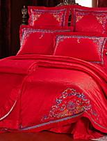 cheap -Duvet Cover Sets Embellished&Embroidered 4 Piece Poly/Cotton 100% Cotton Jacquard Poly/Cotton 100% Cotton 1pc Duvet Cover 2pcs Shams 1pc