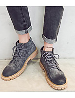 cheap -Men's Shoes Pigskin Winter Fall Combat Boots Comfort Boots Booties/Ankle Boots for Casual Black Gray Camel