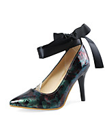 cheap -Women's Shoes Leatherette Spring Summer Comfort Heels Stiletto Heel Pointed Toe for Casual Outdoor Purple Red Green Blue