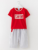 cheap -Girl's Daily Solid Dress, Cotton Summer Short Sleeves Simple Active White Red