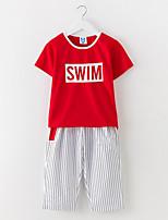 abordables -Robe Fille de Quotidien Couleur Pleine Coton Eté Manches Courtes simple Actif Blanc Rouge