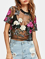 cheap -Women's Club Sexy T-shirt - Floral Embroidered Crew Neck
