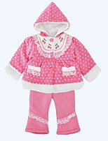 cheap -Girls' Daily Holiday Polka Dot Clothing Set, Cotton Winter Long Sleeves Cute Blushing Pink