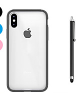 baratos -Capinha Para Apple iPhone X iPhone 8 Plus Antichoque Transparente Capa traseira Côr Sólida Macia TPU para iPhone X iPhone 8 Plus iPhone 8