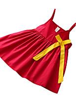 abordables -Robe Fille de Quotidien Couleur Pleine Coton Polyester Eté Sans Manches Basique Rouge