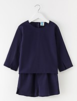 cheap -Girls' Daily Solid Clothing Set, Cotton Summer Long Sleeves Simple Royal Blue