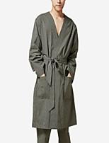 abordables -satin normal des hommes&pyjama en soie, vert moyen coton