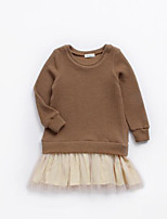cheap -Girl's Daily Solid Dress, Cotton Polyester Spring Summer Long Sleeves Simple Brown