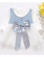 abordables -Robe Fille de Couleur Pleine Printemps Eté Manches Longues simple Bleu clair