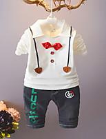 preiswerte -Jungen Kleidungs Set Party Alltag Solide Druck Jacquard Baumwolle Frühling Herbst Langarm Retro Weiß Schwarz Rote