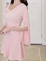 abordables -Femme Sortie Sexy Coton Mince Gaine Robe - Fendu Basique, Couleur Pleine Taille haute Col en V Mini