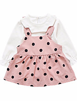 cheap -Girl's Daily Polka Dot Dress, Polyester Spring Long Sleeves Vintage Red Blushing Pink Purple Khaki