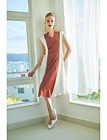 Недорогие -Жен. Тонкие Оболочка Платье Классический V-образный вырез Средней длины