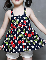 cheap -Girls' Daily Going out Print Clothing Set, Rayon Summer Sleeveless Cute Street chic Navy Blue