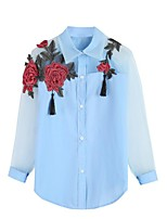 cheap -Women's Basic Street chic Shirt Embroidered Shirt Collar