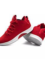 baratos -Homens sapatos Micofibra Sintética PU Primavera Outono Conforto Tênis para Casual Preto Cinzento Vermelho