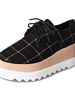 abordables -Femme Chaussures Tissu Printemps Confort Oxfords Creepers Bout rond pour Noir Beige Café