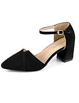Недорогие -Жен. Обувь Полиуретан Весна Лето Удобная обувь Обувь на каблуках На толстом каблуке Заостренный носок для Повседневные Черный Бежевый