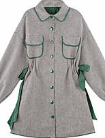abordables -Femme Ample Robe - Plissé, Couleur unie Col de Chemise Mini