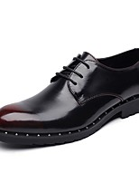 cheap -Men's Shoes Leather Spring Fall Formal Shoes Comfort Oxfords for Casual Office & Career Black Red