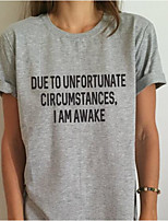 cheap -Women's Simple T-shirt-Letter,Modern Style
