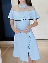 baratos -Mulheres Básico Bainha Vestido Sólido Mini