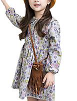preiswerte -Mädchen Kleid Alltag Festtage Blumen Baumwolle Frühling Herbst Langarm Retro Niedlich Grau