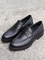 Недорогие -Муж. обувь Кожа Весна Осень Удобная обувь Мокасины и Свитер для Повседневные Черный Миндальный