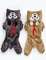 cheap -Dogs Hoodie Dog Clothes Animal Gray Brown Polar Fleece Costume For Pets Animals One Piece