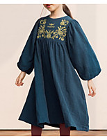 cheap -Girl's Daily Floral Dress, Polyester Spring Long Sleeves Vintage Navy Blue