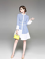 cheap -Women's Basic Street chic Flare Sleeve Slim A Line Sheath Dress - Striped Stand