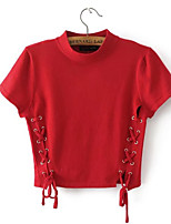 cheap -Women's Going out Cute Cotton T-shirt - Solid Colored