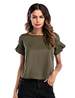 cheap -Women's Basic Street chic T-shirt - Solid Colored
