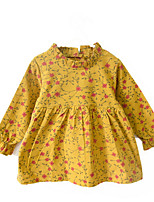 cheap -Girl's Daily Floral Dress, Polyester Spring Long Sleeves Vintage Blushing Pink Purple Yellow