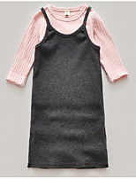 cheap -Girl's Daily School Solid Dress, Cotton Spring Fall Long Sleeves Simple Active Navy Blue Gray