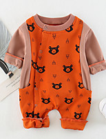 cheap -Baby Unisex Daily Animal Print Patchwork One-Pieces, Cotton Spring Summer Cute Active Half Sleeves Blushing Pink Beige