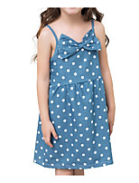 cheap -Girl's Daily Solid Dress, Cotton Linen Bamboo Fiber Acrylic Spring Sleeveless Simple Blue