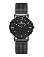 baratos -Homens Relógio de Moda Relógio Casual Japanês Quartzo Mostrador Grande Relógio Casual Aço Inoxidável Banda Luxo Elegant Preta