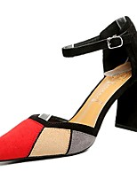 cheap -Women's Shoes Rubber Spring Comfort Heels Chunky Heel for Outdoor Black Red