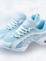 cheap -Women's Dance Sneakers Tulle Canvas Sneaker Outdoor Splicing Low Heel Blue/White 1 - 1 3/4 Customizable